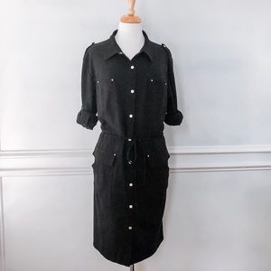 Calvin Klein Black Button-Down Belted Shirt Dress